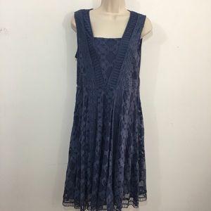 Sundance lace sleeveless skater dress size 4 blue